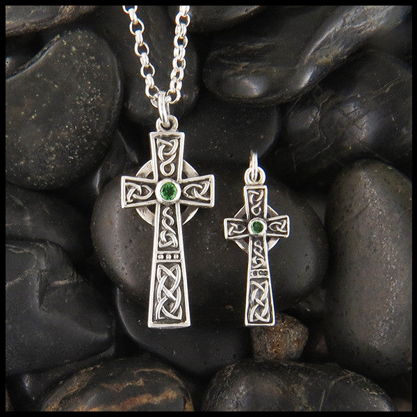 Unique Celtic Cross in Sterling Silver with Gemstones