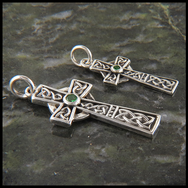 Celtic Cross in Sterling Silver with Gemstones
