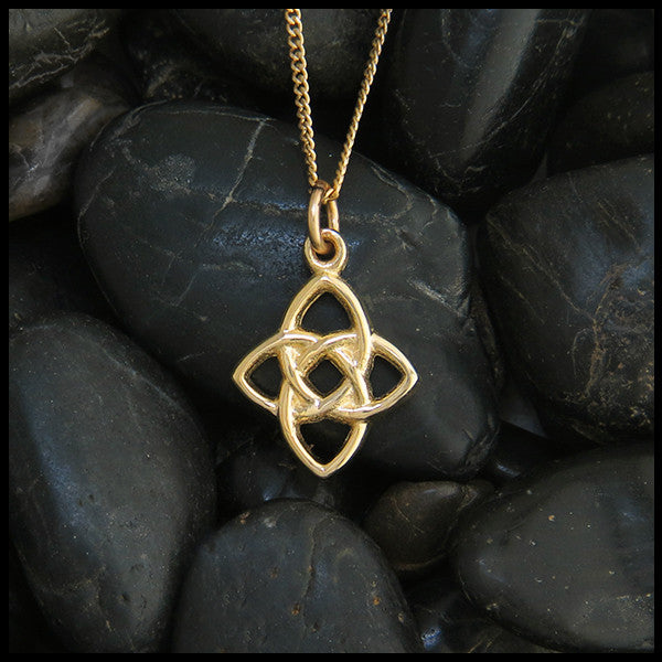 Starlight knot pendant in 14k gold walker metalsmiths celtic jewelry celtic knot star pendant in 14k yellow rose and white gold aloadofball Image collections