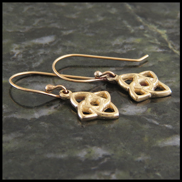 Celtic knot pendant and earring set in 14K Yellow, Rose, or White Gold