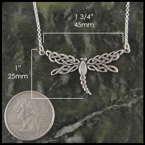 dragonfly pendant in silver
