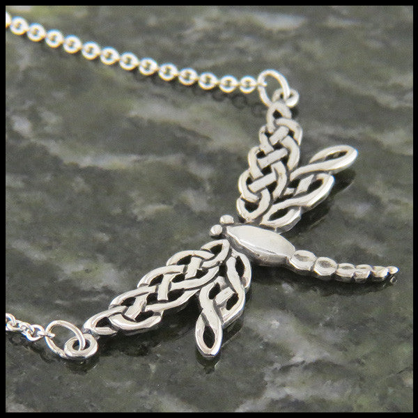 dragonfly bar pendant, bar pendant, sterling silver, celtic jewelry, celtic pendant, Sterling Silver Dragonfly Bar Pendant with Chain