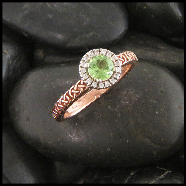 Celtic Josephine's Knot Halo Mint Tsavorite and Diamond
