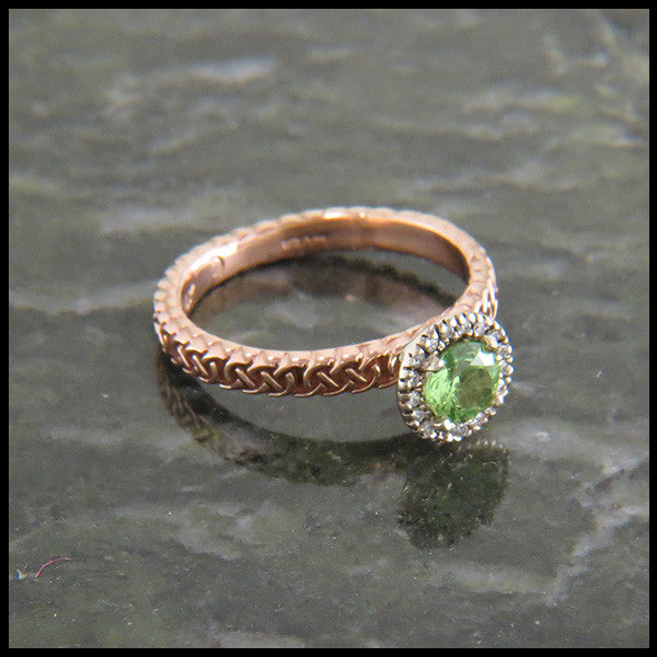 Celtic Love Knot Engagement Ring With Mint Tsavorite And Diamond