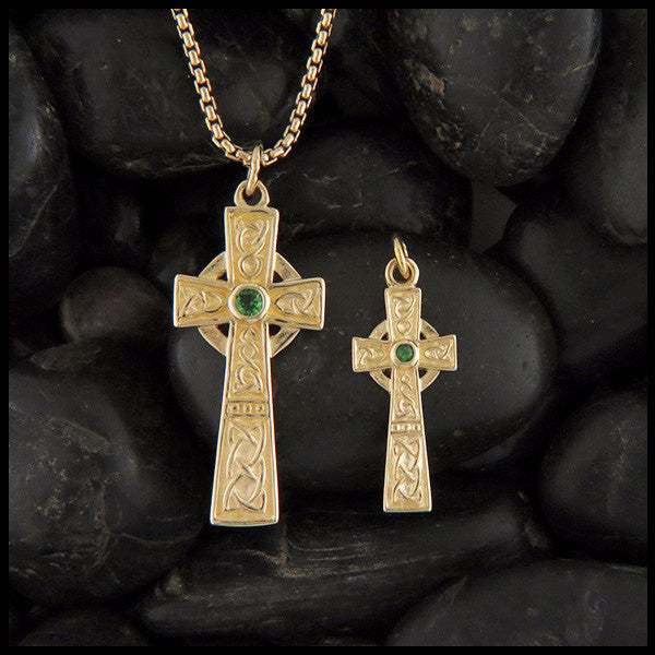 14K Gold Revival Celtic Cross Pendant