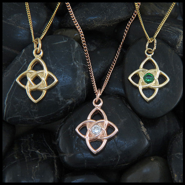 Celtic Knot Star Pendant in 14K Yellow, Rose and White Gold