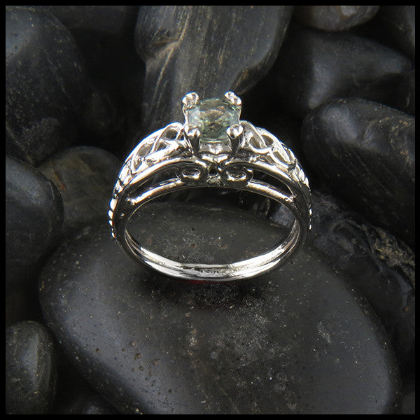 Celtic Cathedral Ring in White Gold with Green Sapphire