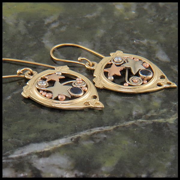 Celtic Star and Trinity Earrings in Gold with Sapphire and Diamond