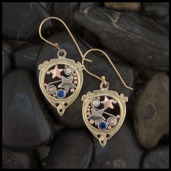 Celtic Star and Trinity Earrings in Gold with Sapphire