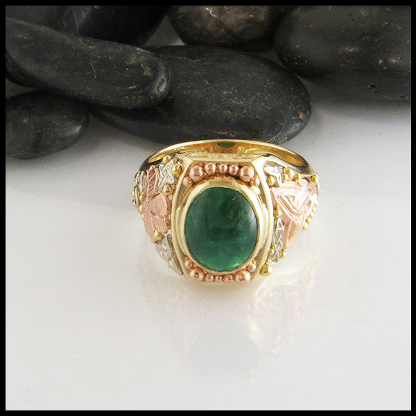 trigold emerald cabochon spiral shamrock triquetra rose white yellow green irish celtic ring
