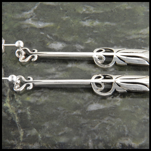 ball drop arrow earrings in silver