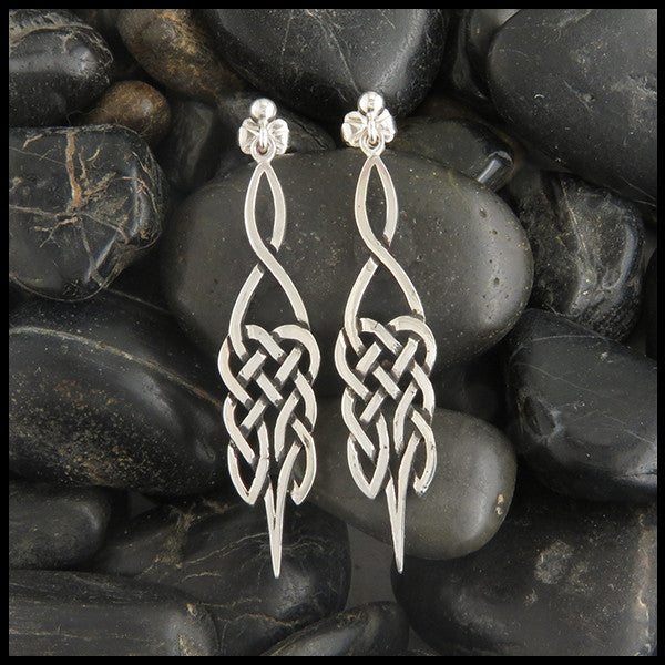 Celtic knot ball drop earrings in silver