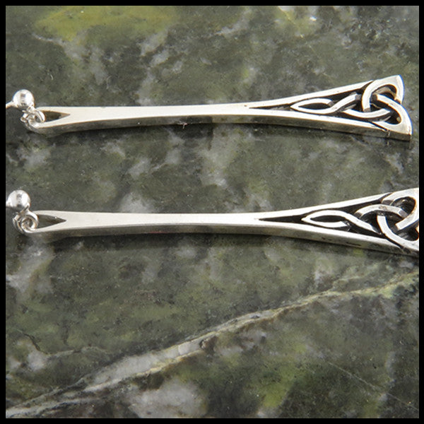 Trinity knot ball drop earrings in silver