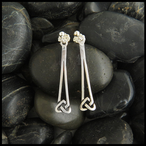 Heart knot ball drop earrings in Silver