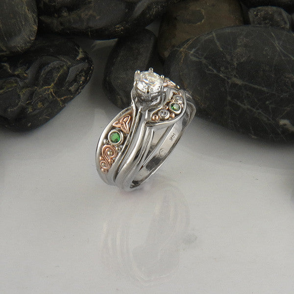 celtic wedding set with diamond and tsavorite - Irish Wedding Ring Sets