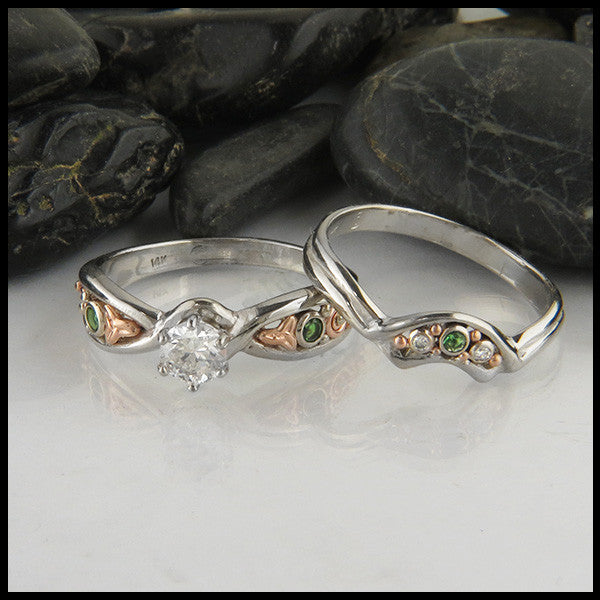 Trinity Twist Diamond and Tsavorite Ring Set