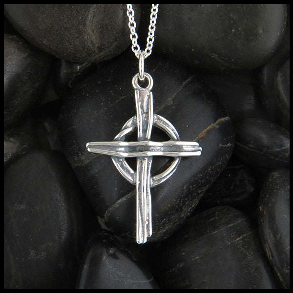 Rustic Celtic Cross in Silver