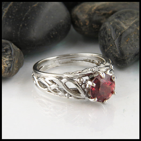 Raspberry Rhodolite Garnet Celtic Cathedral Ring