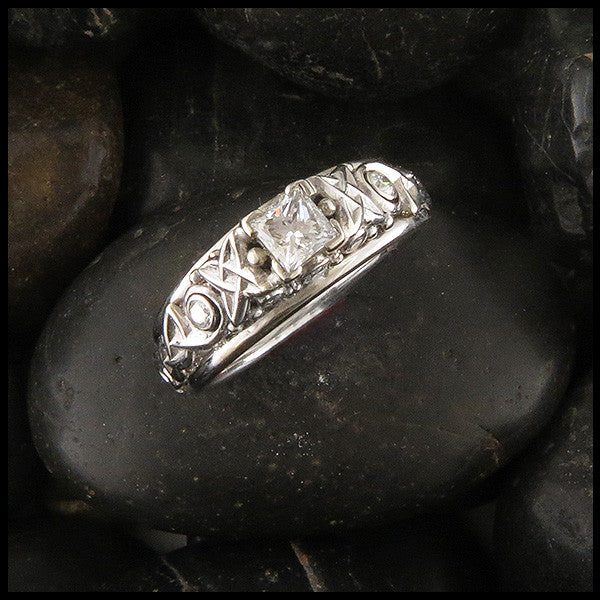 Custom Celtic Cathedral Set Diamond Engagement Ring