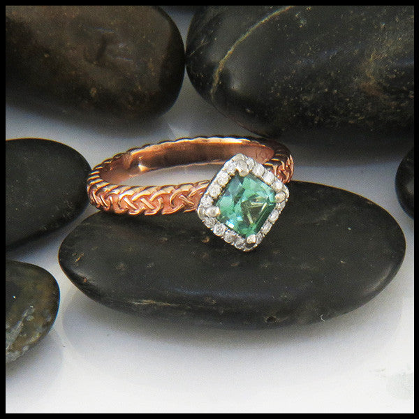 Josephine's Knot Green-Blue Tourmaline Halo Ring
