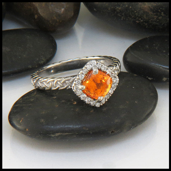 Custom Celtic Engagement Ring with Spessarite Garnet and Diamond Halo