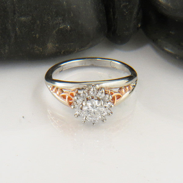 Celtic Knot Engagement Ring with Diamond Halo
