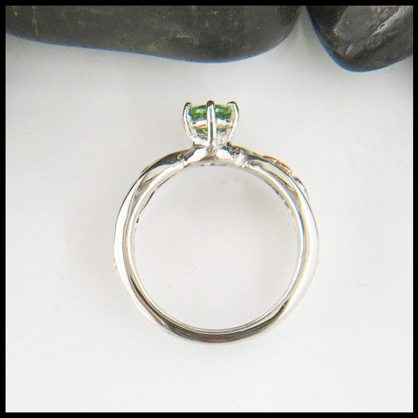 Trinity Twist Green Tsavorite Ring