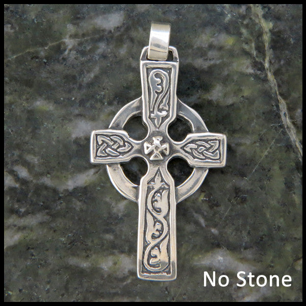 Handcrafted Celtic Ivy Cross in Sterling Silver with Gemstones by Walker Metalsmiths