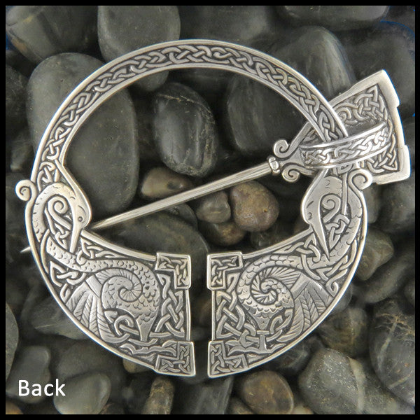 Penannular Brooch with 14k Rose Gold, Penannular Brooch, Penannular, Brooch, Fibula, Heron, Rose Gold, Celtic, Herons, Crosses, Cross, Medallion Crosses, Sterling Silver