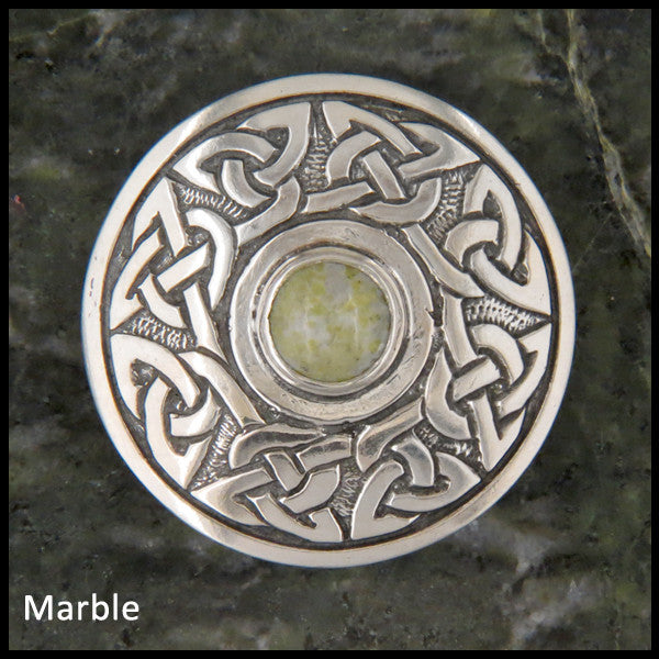 Wheel of Life Sterling Silver brooch with gemstones