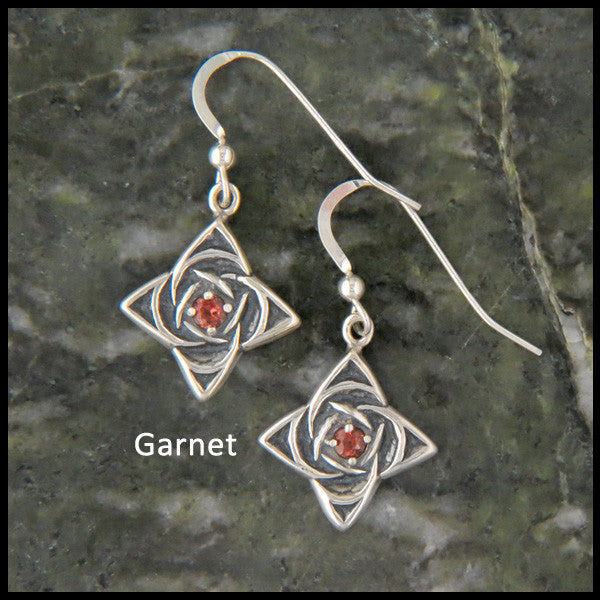 Celtic Star Knot drop earrings in Sterling Silver with Garnet