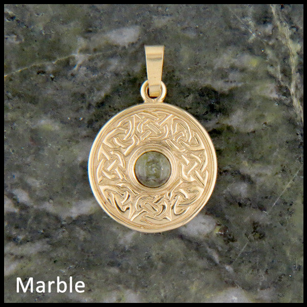 Wheel of life pendant in 14K Yellow, Rose and White Gold with gemstones