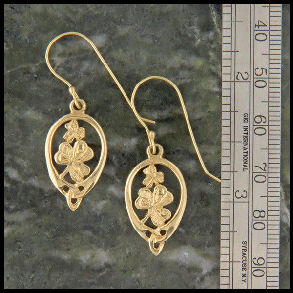 Irish Shamrock pendant and earring set in 14K Gold