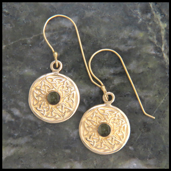 Wheel of Life earrings in Gold with Connemara Marble