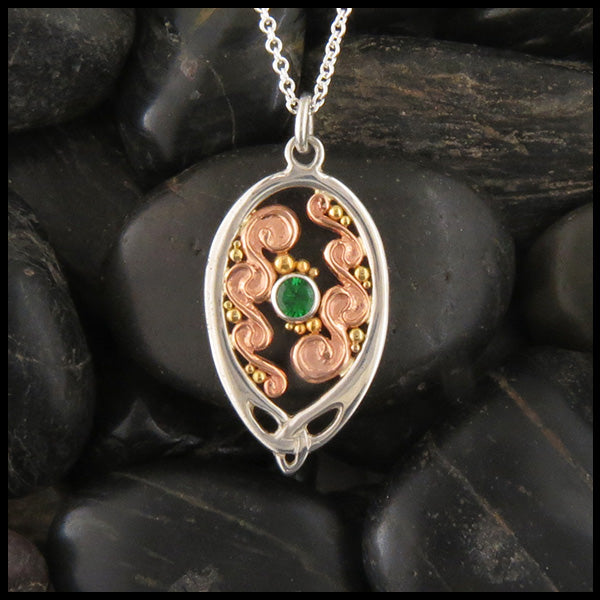 Tsavorite and Spiral Pendant in Gold & Silver