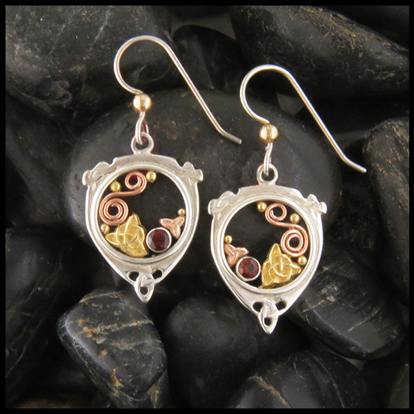 Drop Earrings in Gold and Silver with Garnet
