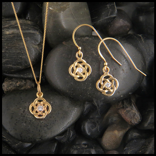 Josephine's knot pendant and earring set in 14K with diamonds