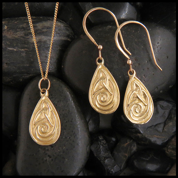 14K gold Celtic earrings and pendant