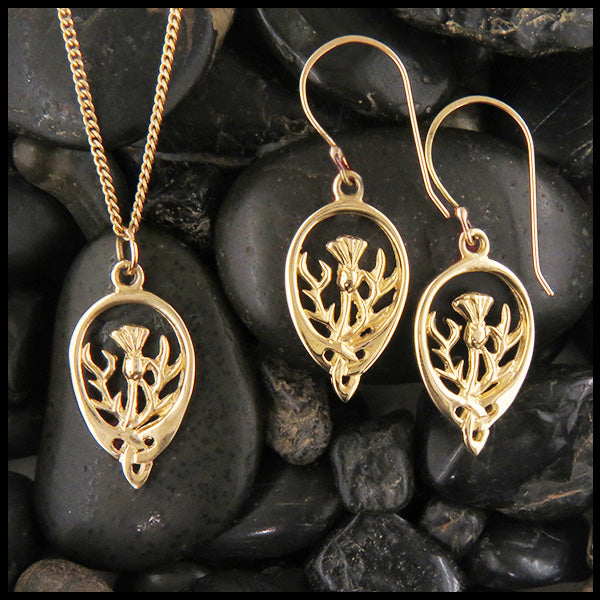 Scottish Thistle Pendant and Earring Set