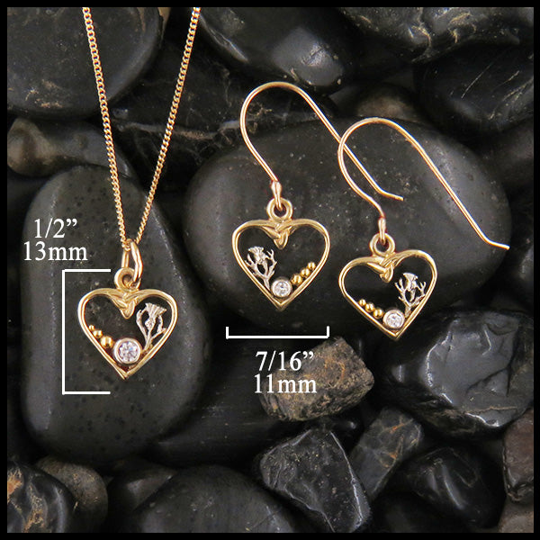 Heart and Thistle Pendant and Earring Set in Gold