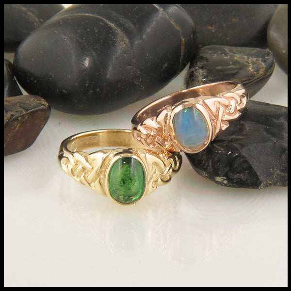 Celtic Trinity Ring with Oval Tsavorite and Opal in Gold