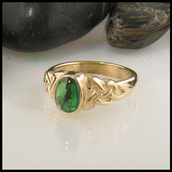 Celtic Trinity Ring with Oval Tsavorite in Gold