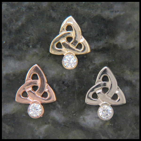 Trinity Knot post earrings in 14K Gold with Gemstones