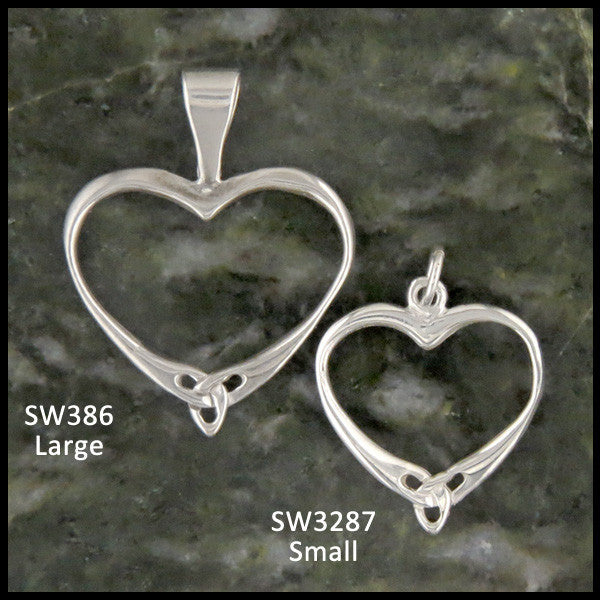 Simple Celtic Knot heart pendants in Sterling Silver