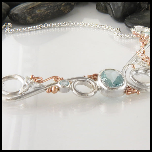 Aquamarine & Spiral Custom Bar Pendant in Silver and Gold