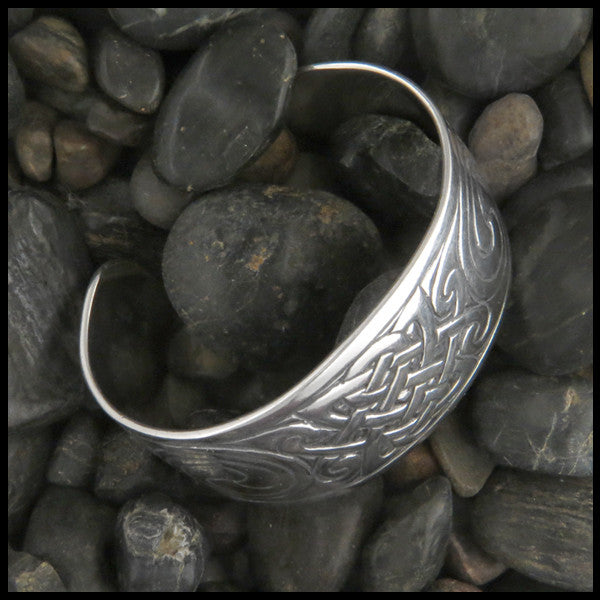Sterling Silver large cuff Celtic bracelet