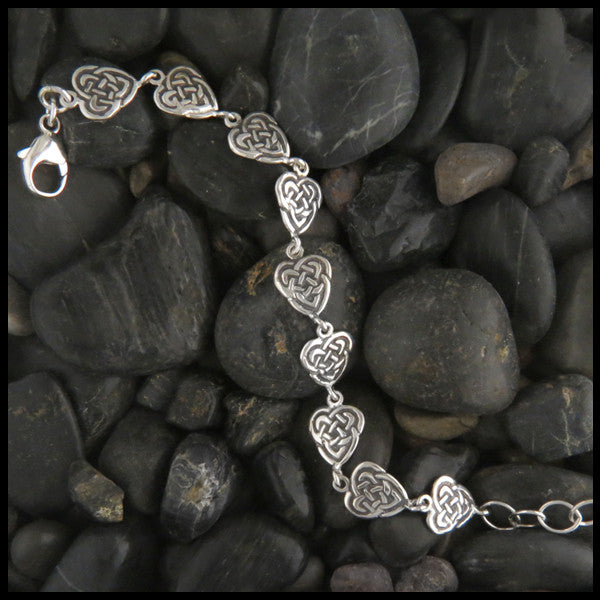 Maggie's Heart link bracelet in Sterling Silver or Gold