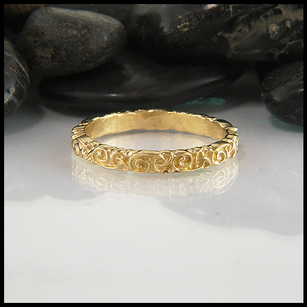 Trinity Scroll Stacking Ring in 14K Gold