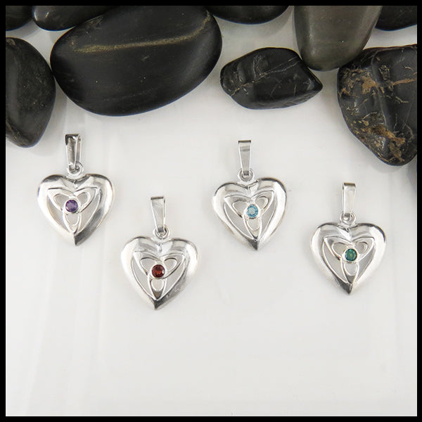 Sterling Silver Celtic Pendant Gemstone Amethyst Garnet Evergreen Topaz Blue Heart Trinity