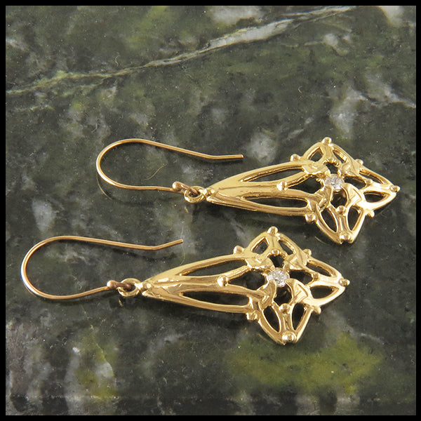 Trinity Star Knot Earrings Diamond Gold Yellow Rose White Celtic Jewelry